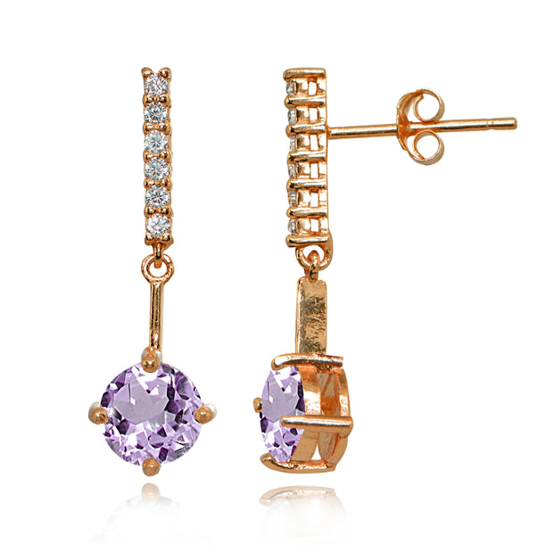 Rose Gold Flashed Sterling Silver Amethyst & White Topaz Round Encrusted Bar Dangle Drop Earrings