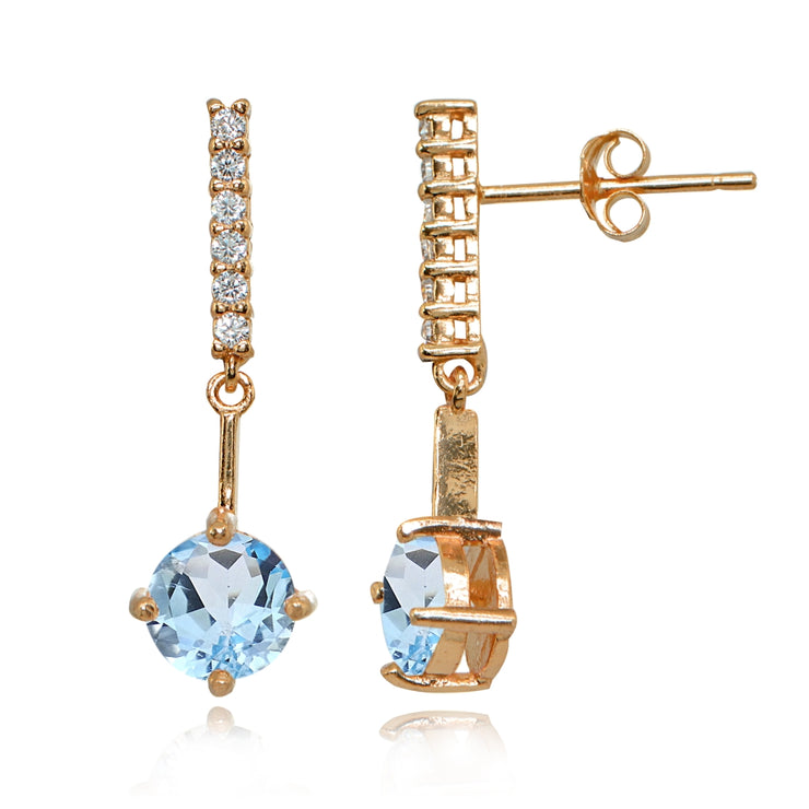 Rose Gold Flashed Sterling Silver Blue & White Topaz Round Encrusted Bar Dangle Drop Earrings