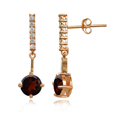 Rose Gold Flashed Sterling Silver Garnet & White Topaz Round Encrusted Bar Dangle Drop Earrings