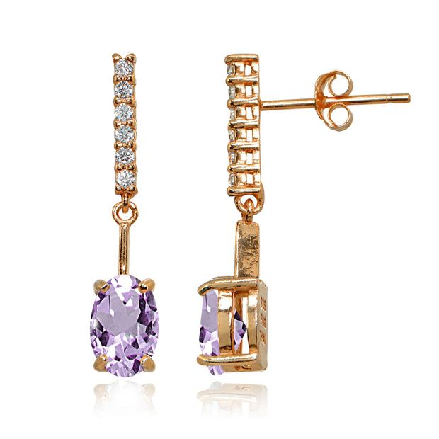 Rose Gold Flashed Sterling Silver Amethyst & White Topaz Oval Encrusted Bar Dangle Drop Earrings