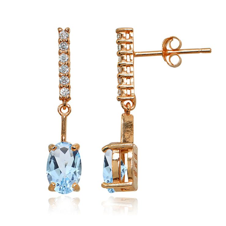 Rose Gold Flashed Sterling Silver Blue & White Topaz Oval Encrusted Bar Dangle Drop Earrings