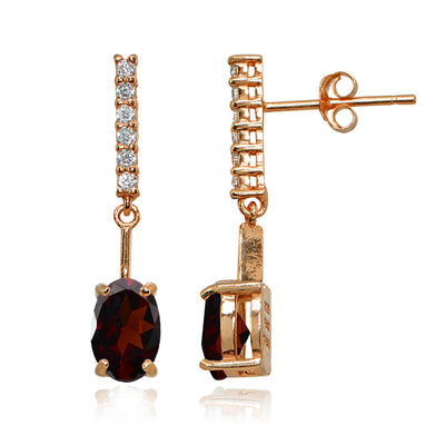 Rose Gold Flashed Sterling Silver Garnet & White Topaz Oval Encrusted Bar Dangle Drop Earrings