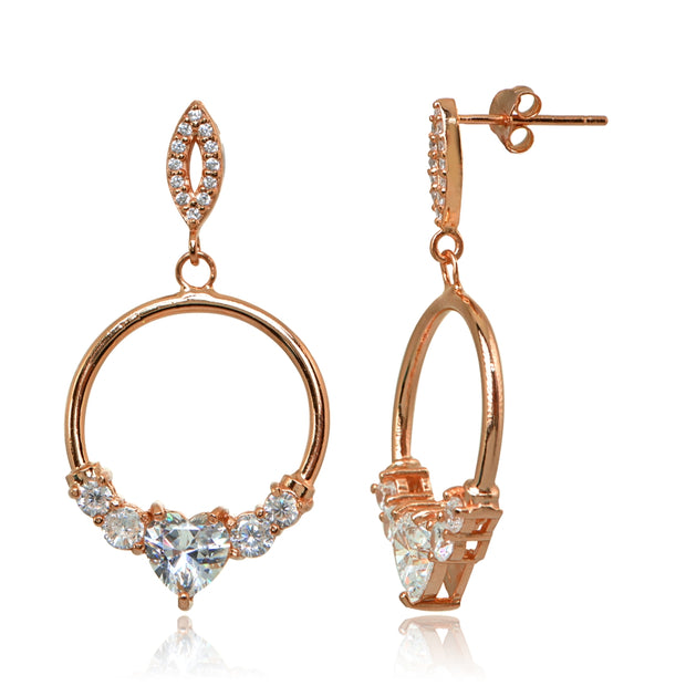 Rose Gold Flashed Sterling Silver Cubic Zirconia Heart Frontal Hoop Dangle Drop Earrings