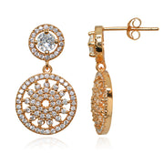 Rose Gold Flashed Sterling Silver Polished Cubic Zirconia Round Medallion Cluster Dangle Drop Earrings