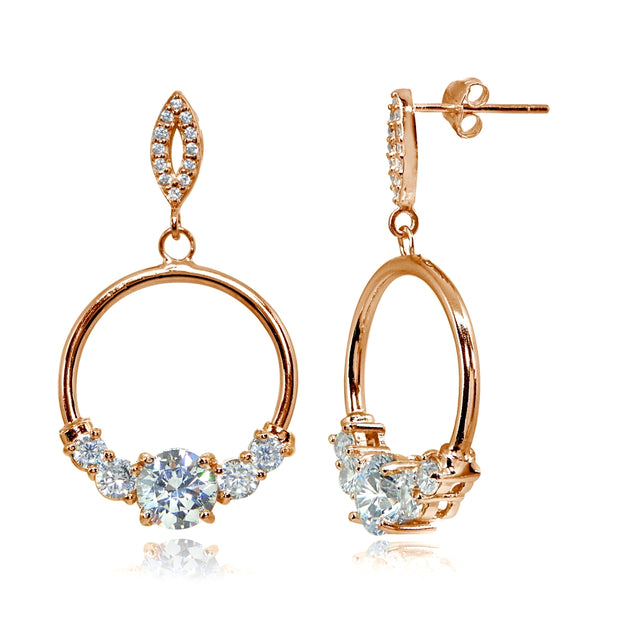 Rose Gold Flashed Sterling Silver Cubic Zirconia Round Frontal Hoop Dangle Drop Earrings