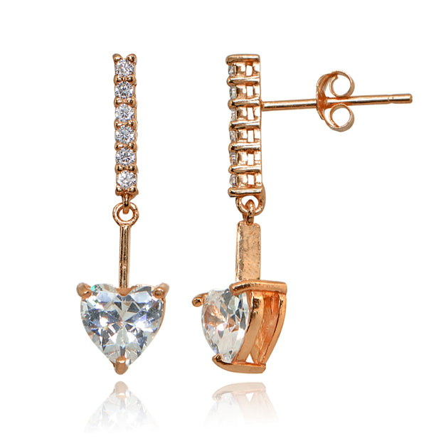 Rose Gold Flashed Sterling Silver Cubic Zirconia Heart Encrusted Bar Statement Dangle Drop Earrings