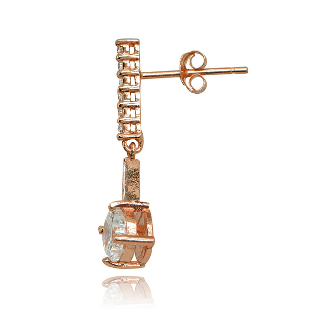 Rose Gold Flashed Sterling Silver Cubic Zirconia Round-cut Encrusted Bar Statement Dangle Drop Earrings