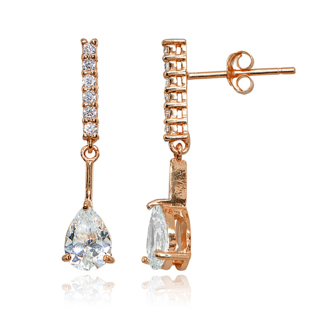 Rose Gold Flashed Sterling Silver Cubic Zirconia Teardrop Encrusted Bar Statement Dangle Drop Earrings
