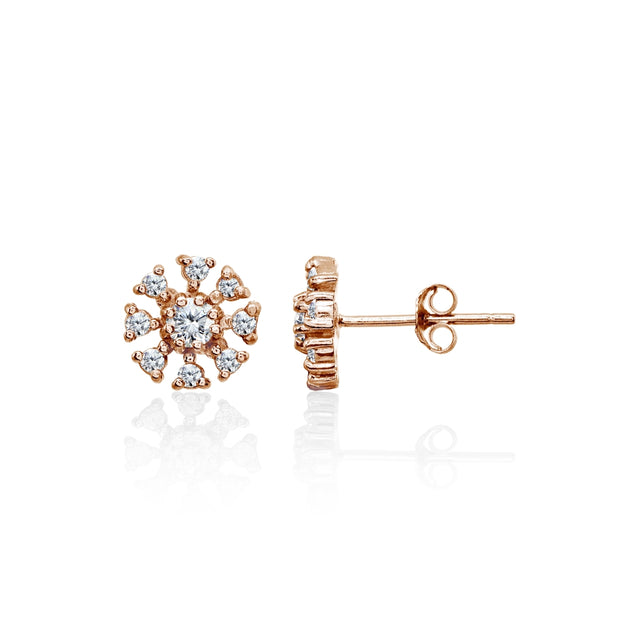 Rose Gold Flashed Sterling Silver Polished Cubic Zirconia Round-Cut Snowflake 9mm Stud Earrings