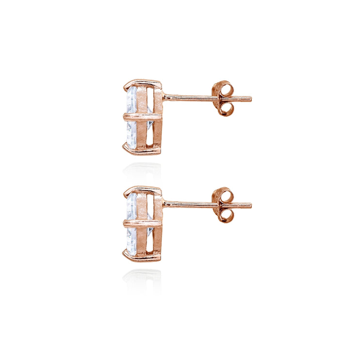 Rose Gold Flashed Sterling Silver Cubic Zirconia Princess-Cut Checkerboard 10mm Stud Earrings