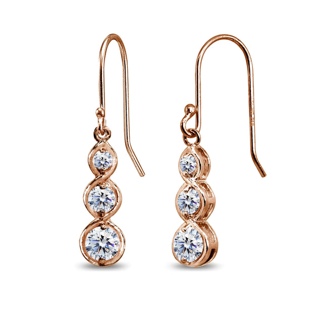 Rose Gold Flashed Sterling Silver Round Three Stone Journey Infinity Dangle Earrings Made with Swarovski Zirconia