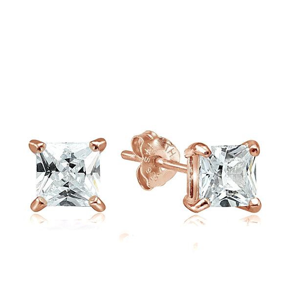 Sterling Silver 4 Ct Square Cubic Zirconia Earrings