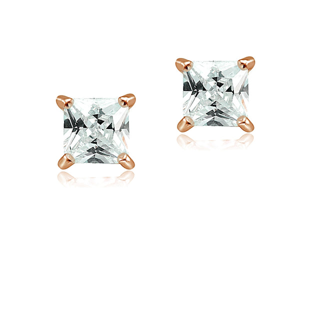Rose Gold Tone over Sterling Silver 3/4ct Cubic Zirconia 4mm Square Stud Earrings