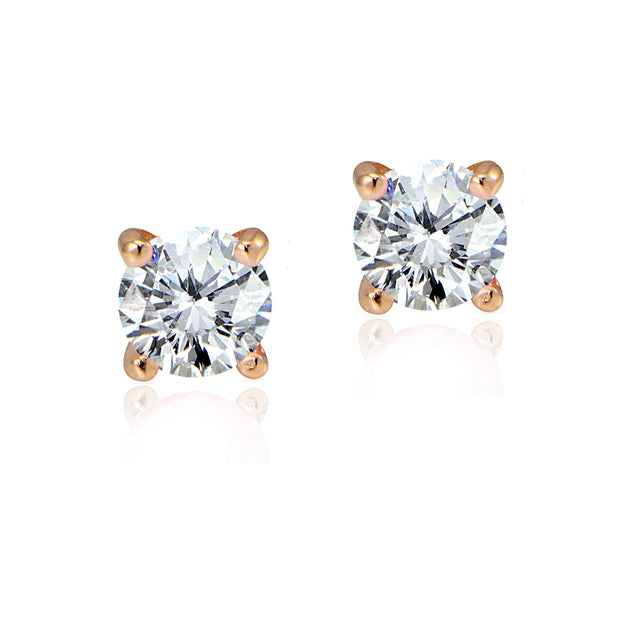 Rose Gold Tone over Sterling Silver 1/2ct Cubic Zirconia 4mm Round Stud Earrings