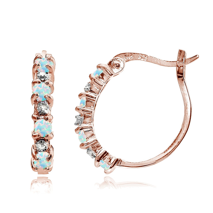 Rose Gold Tone over Sterling Silver White Opal & Diamond Accent Hoop Earrings