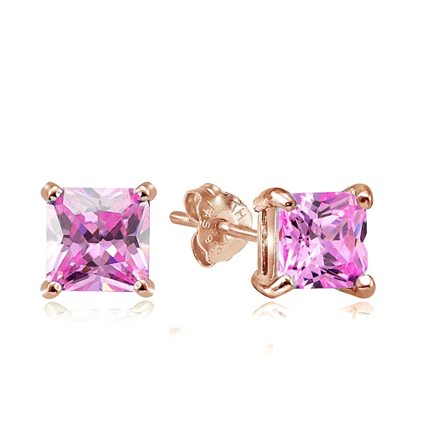 Rose Gold Tone over Sterling Silver 4ct Light Pink Cubic Zirconia 7mm Square Stud Earrings