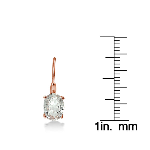 Rose Gold Flashed Sterling Silver 1Aquamarine 8x6mm Oval Leverback Earrings
