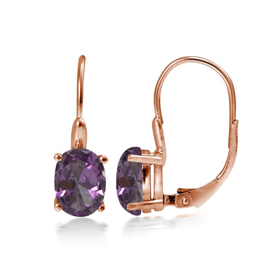 Rose Gold Flashed Sterling Silver Simulated Alexandrite 8x6mm Oval Leverback Earrings