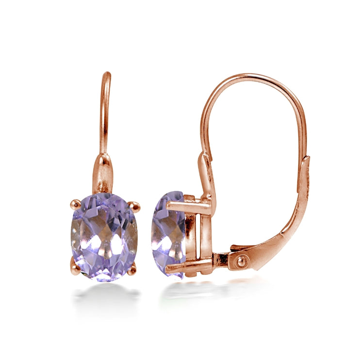 Rose Gold Flashed Sterling Silver Amethyst 8x6mm Oval Leverback Earrings