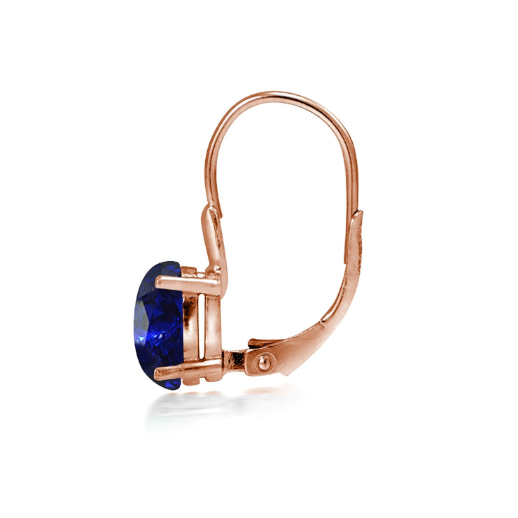 Rose Gold Flashed Sterling Silver Created Blue Sapphire 8x6mm Oval Leverback Earrings