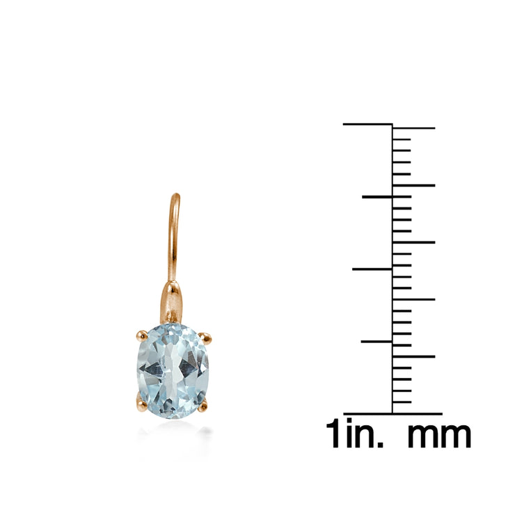 Rose Gold Flashed Sterling Silver Blue Topaz 8x6mm Oval Leverback Earrings
