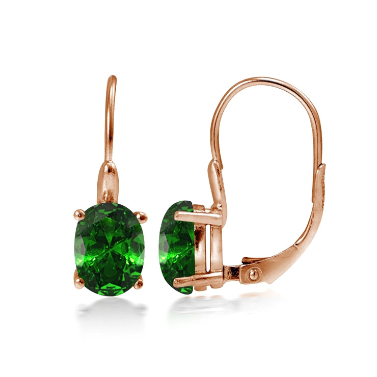 Rose Gold Flashed Sterling Silver Simulated Emerald 8x6mm Oval Leverback Earrings