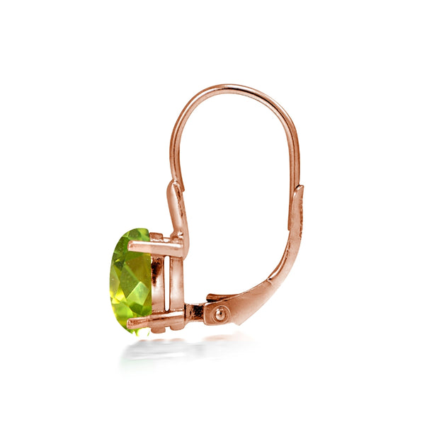 Rose Gold Flashed Sterling Silver Peridot 8x6mm Oval Leverback Earrings