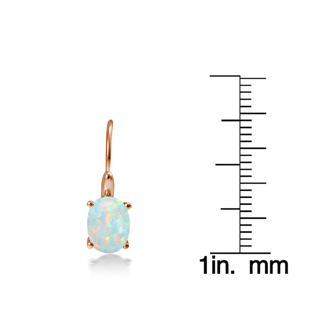 Rose Gold Flashed Sterling Silver Created Opal 8x6mm Oval Leverback Earrings