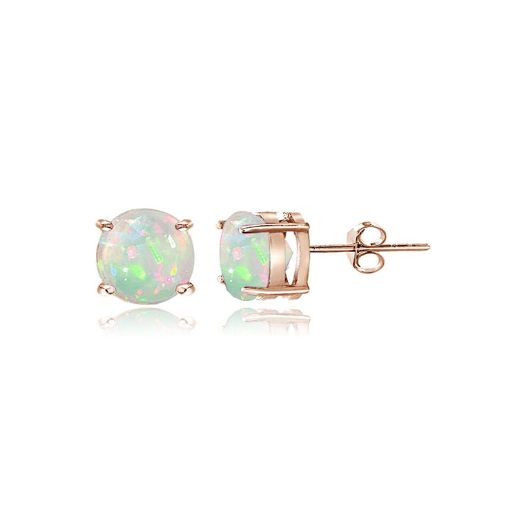 Rose Gold Tone over Sterling Silver 0.60ct Ethiopian Opal Stud Earrings, 5mm