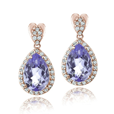 Rose Gold Tone 5.5ct Amethyst & CZ Teardrop Dangle Earrings