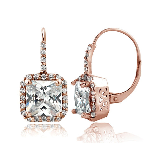 Rose Gold Tone 6.5ct CZ Square Halo Leverback Earrings
