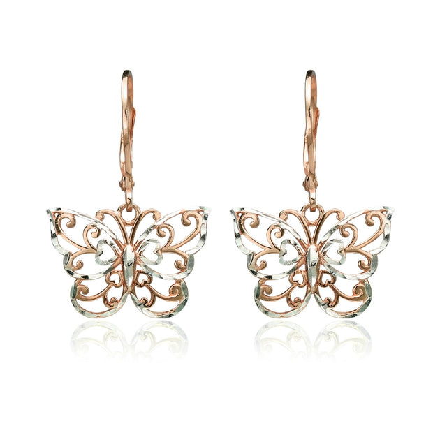 Rose Gold Flashed Sterling Silver Two-Tone Diamond-cut Filigree Butterfly Dangle Leverback Earrings