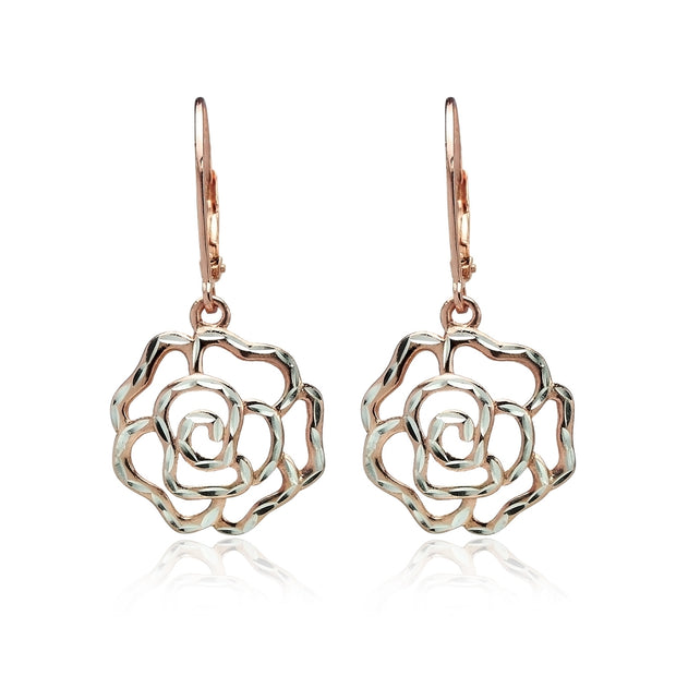 Rose Gold Flashed Sterling Silver Two-Tone Diamond-cut Rose Flower Dangle Leverback Earrings