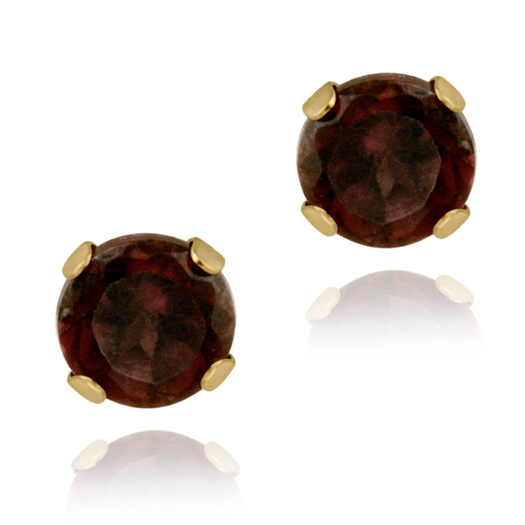 14K Yellow Gold 2/3ct Garnet Stud Earrings, 4mm