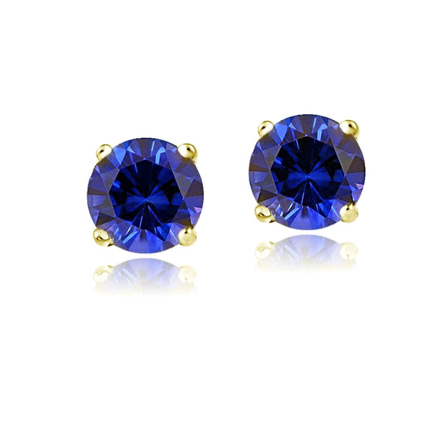 14K Yellow Gold 2.1 ct TGW Created Blue Sapphire Stud Earrings