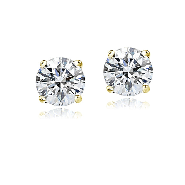 14K Yellow Gold 1.5ct CZ Stud Earrings, 6mm