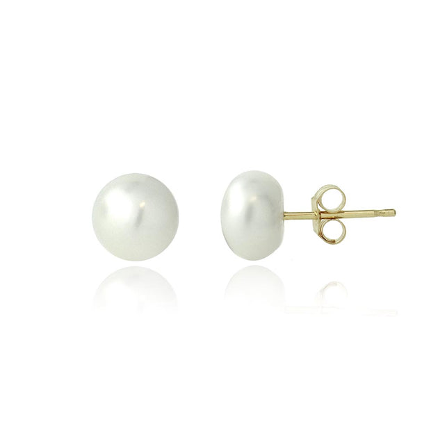 10K Yellow Gold Freshwater Cultured 6-6.5mm White Pearl Stud Earrings
