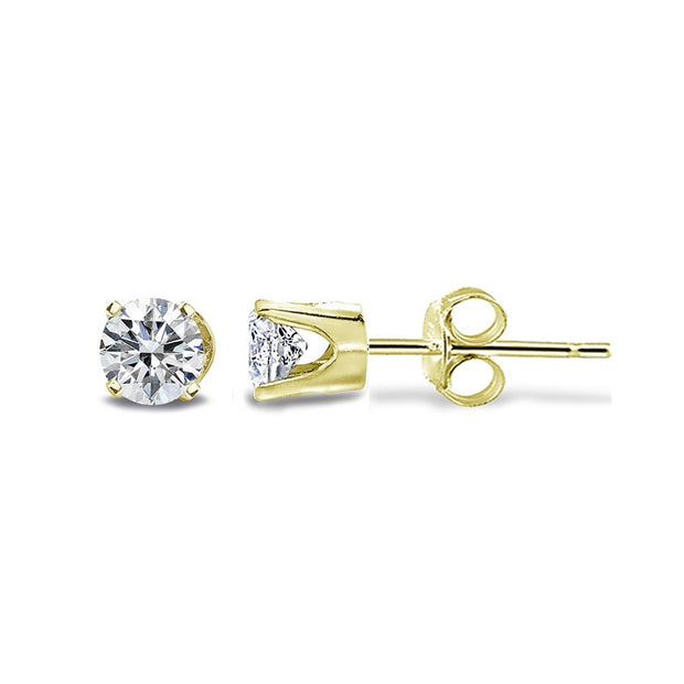 1/4 Carat Round Diamond 14K Yellow Gold Stud Earrings, H-I, I2-I3