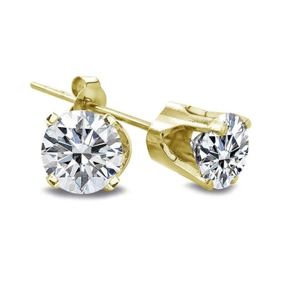 1 Carat Round Cut 14K Yellow Gold Diamond Stud Earrings, G-H, I2