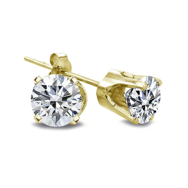 1/4 ct Round Diamond 14K Yellow Gold Stud Earrings, H-I, I2-I3