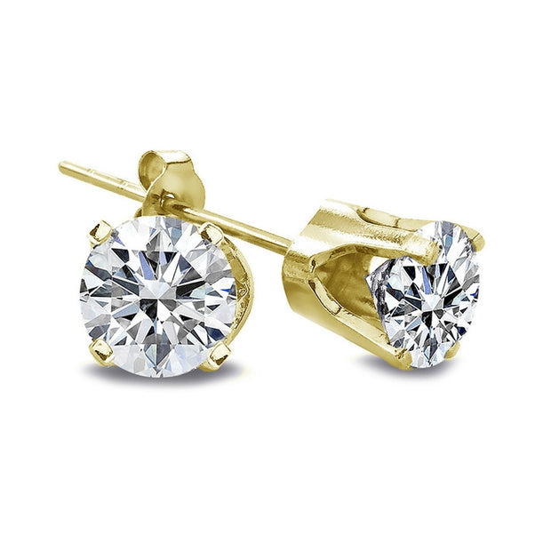 1/3 ct Round Cut 14K Yellow Gold Diamond Stud Earrings