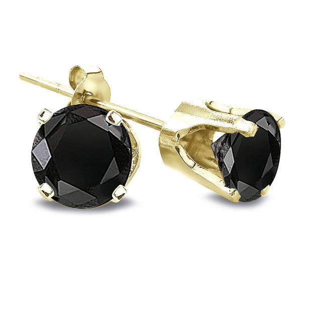 2 Ct Round Black Diamond 14K Yellow Gold Stud Earrings