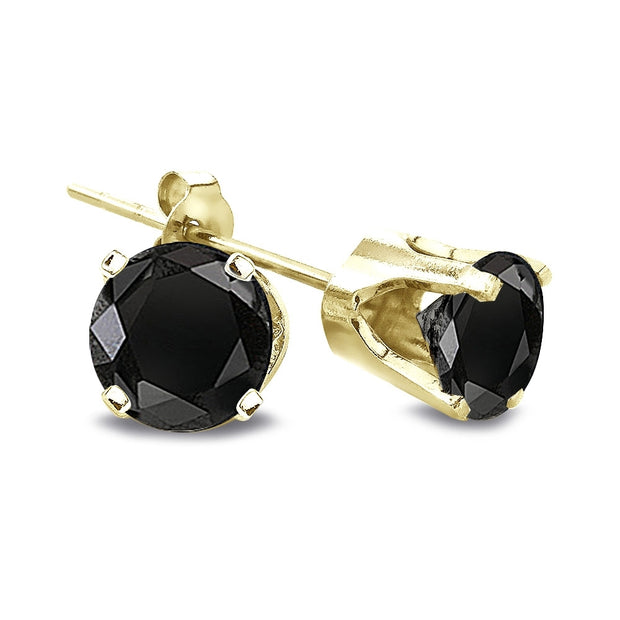 1/2 Carat Round Black Diamond 14K Yellow Gold Stud Earrings