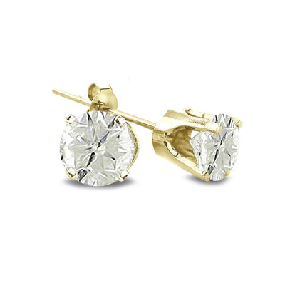 1/2 Carat Round Diamond 14K Yellow Gold Earrings, J-K, I3