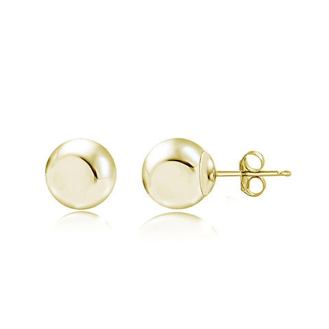 14K Yellow Gold 3mm Polished Tiny Ball Bead Unisex Stud Earrings