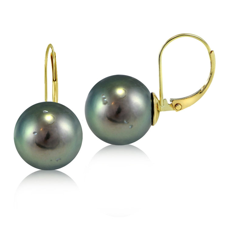 14K Yellow Gold Tahitian Cultured Pearl 11mm Leverback Earrings