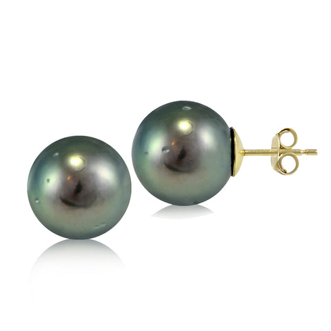 14K Yellow Gold Tahitian Cultured Pearl 11mm Stud Earrings