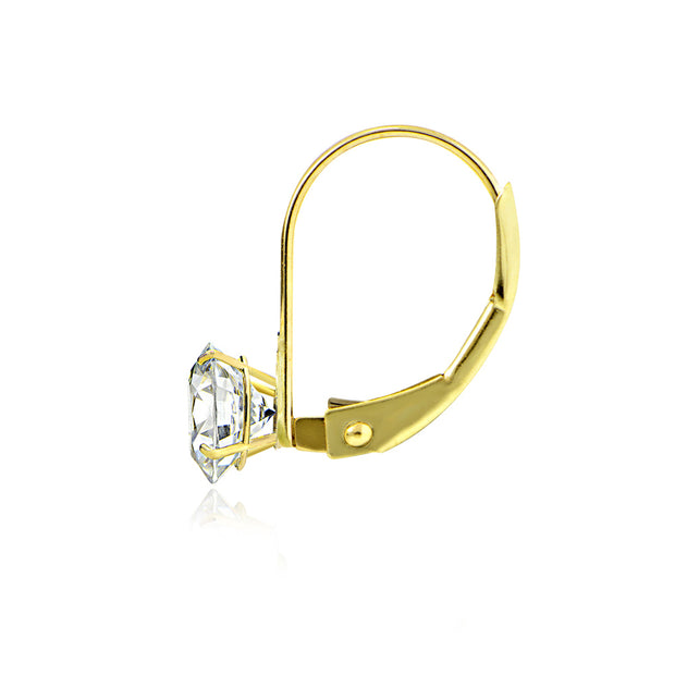14K Yellow Gold 1.00 ct tdw Cubic Zirconia Round Leverback Earring, 5mm