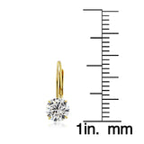 14K Yellow Gold 1.00 CTTW Cubic Zirconia Round Leverback Earring, 5mm