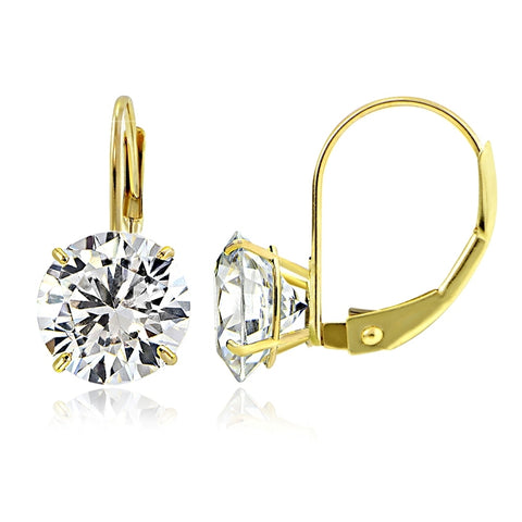 12aa3b02e 14K Yellow Gold 2.50 CTTW Cubic Zirconia Round Leverback Earring, 7mm